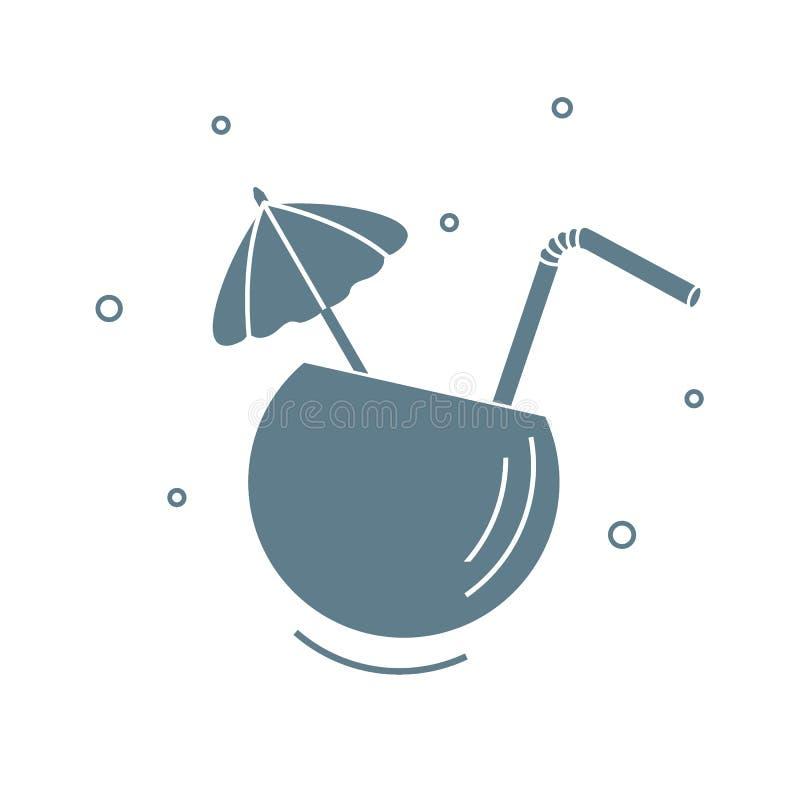 Stilisierte Ikone des Cocktails in der halben Kokosnuss, im Rohr und im Regenschirm Reise und Freizeit Design f?r Fahne, Plakat o vektor abbildung