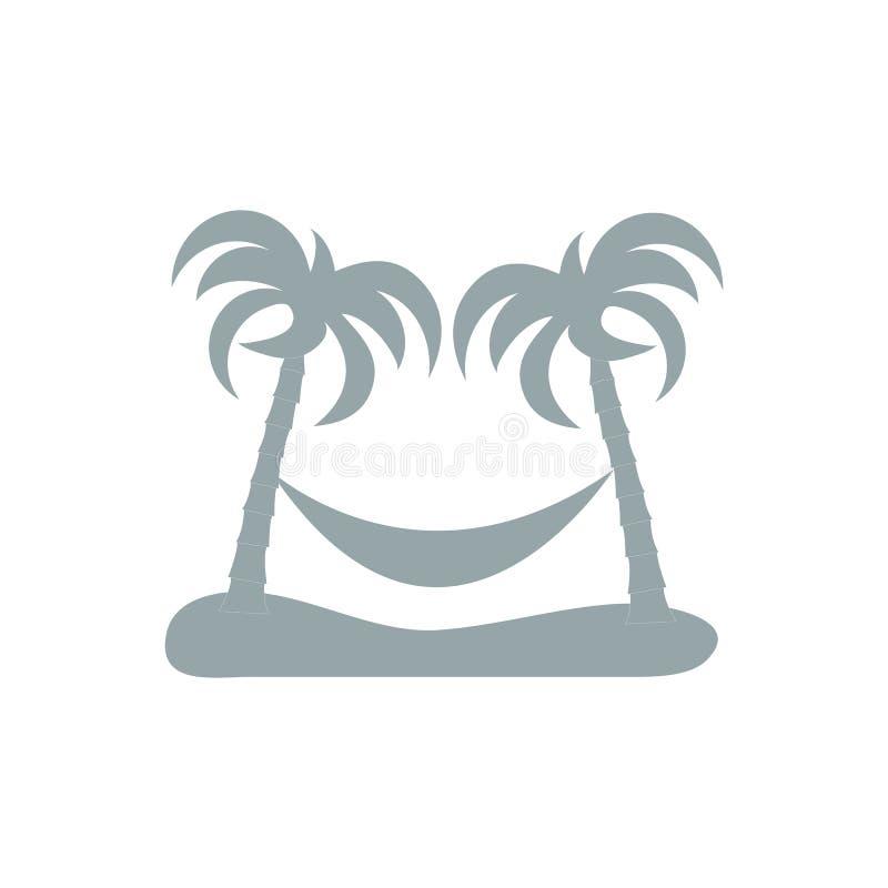 Stilisierte Ikone des Restes in einer Hängematte darunter zwei Palmen stock abbildung