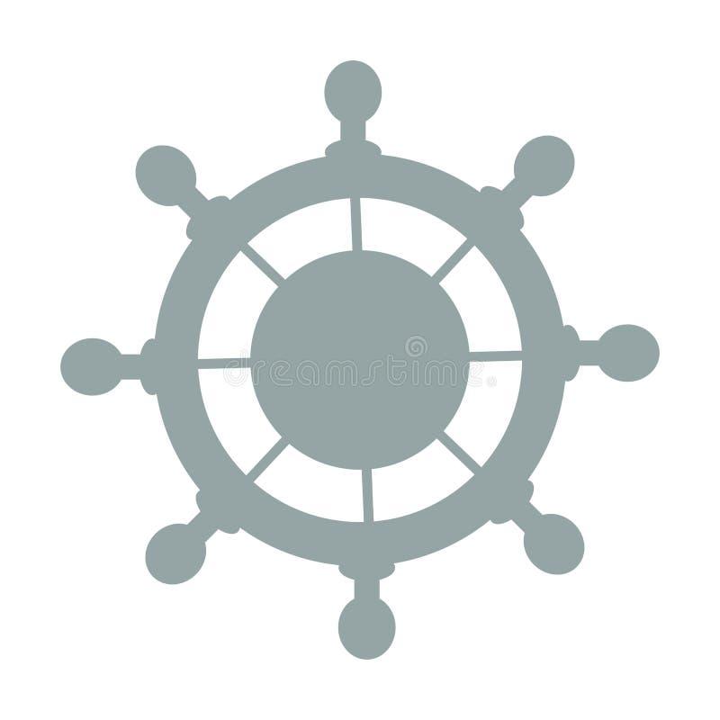 Stilisierte Ikone eines farbigen Lenkrads auf einem weißen Hintergrund stock abbildung