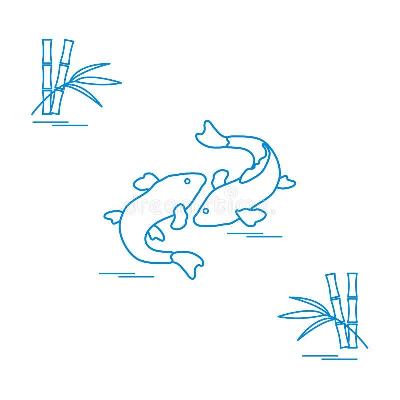 Stilisierte Ikone von koi und von Bambus mit zwei Karpfen Reise und Freizeit lizenzfreie abbildung