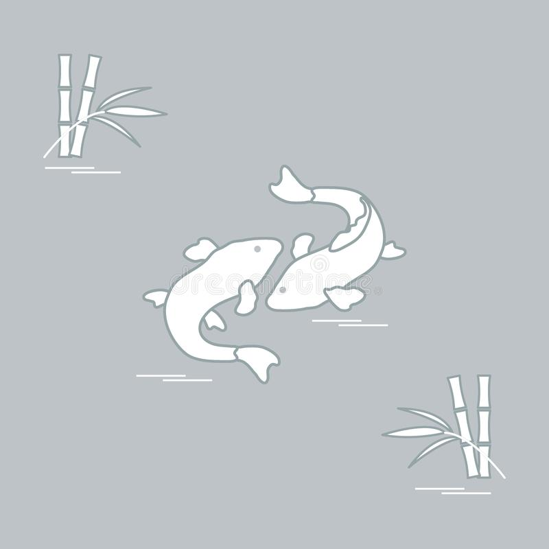 Stilisierte Ikone von koi und von Bambus mit zwei Karpfen Reise und Freizeit stock abbildung