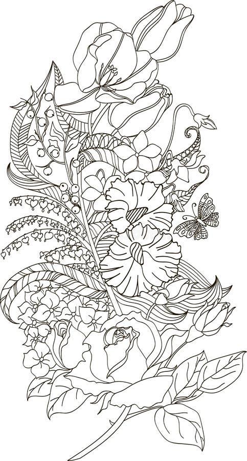 Stilisierte Illustration der Gekritzelfeder mit Rosen, Tulpen und Schmetterling lizenzfreie abbildung