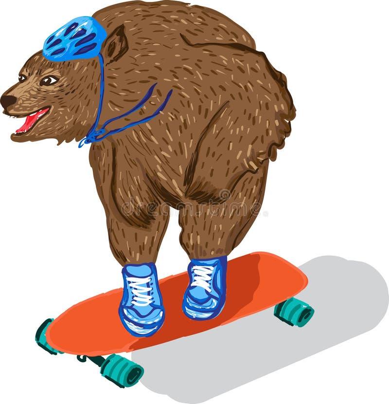 Stilisierte Illustration eines Bären fährt auf ein Skateboard stock abbildung