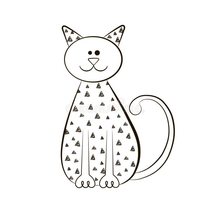 Stilisierte Katze auf weißem Hintergrund Konturnskizze der Katze Abbildung lizenzfreie abbildung