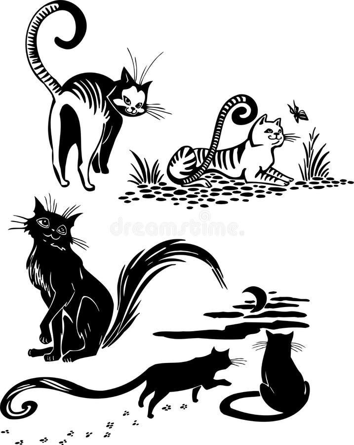 Stilisierte Katzen - Eleganz und würdevolle Katzen. lizenzfreie abbildung