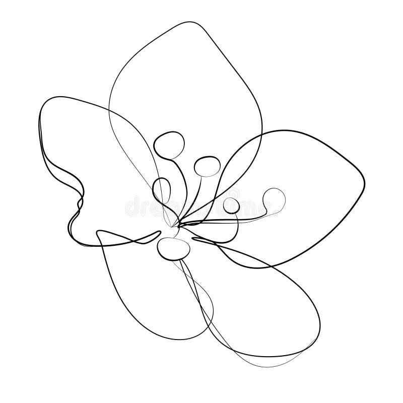 Stilisierte Kirschblüte-Blumenikone Blumenknospe Der Kirsche Lineare ...