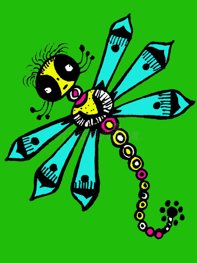 Stilisierte Libelle - einzigartige Zeichnungen und Skizzen lizenzfreie abbildung