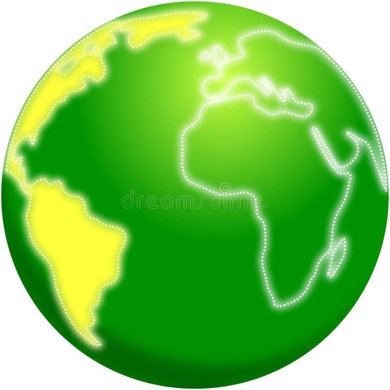 Stilisierte Planet Erde mit Amerika hob hervor lizenzfreie abbildung