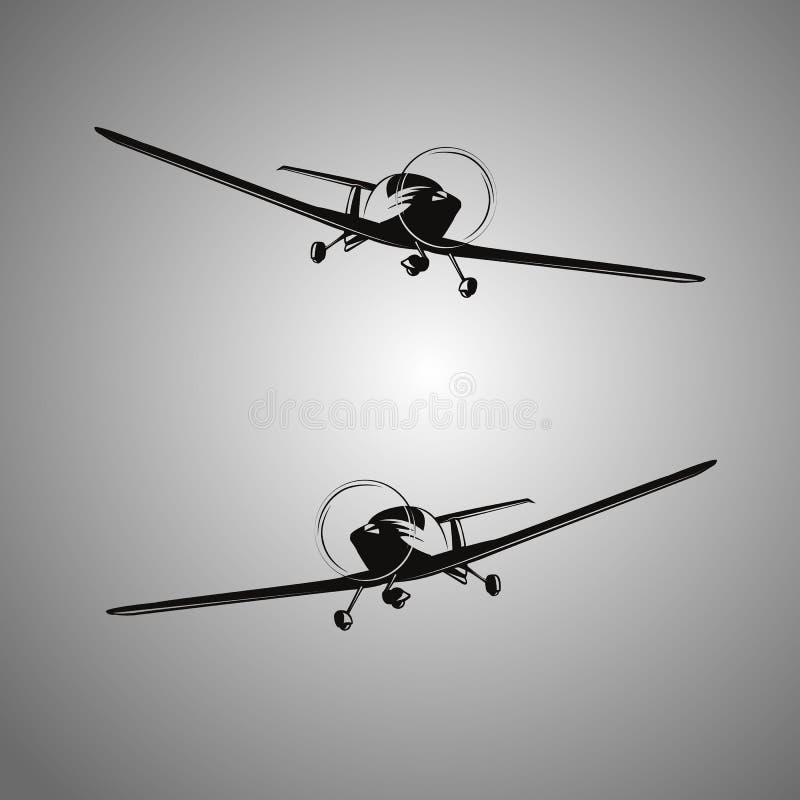 Stilisierte Schwarzweiss-Flugzeuge lizenzfreie stockfotos