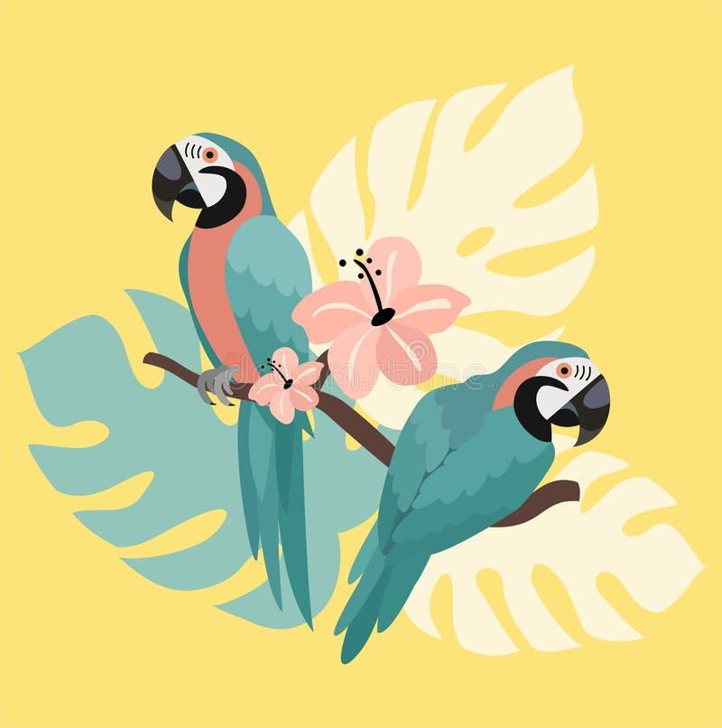 Stilisierte Sommerillustration mit Papageien und tropischen Blättern Rand der Farbband-, Lorbeer- und Eichenbl?tter lizenzfreie abbildung