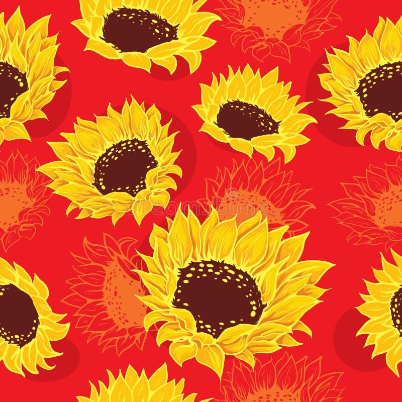 Stilisierte Sonnenblumen und orange Blumen stock abbildung