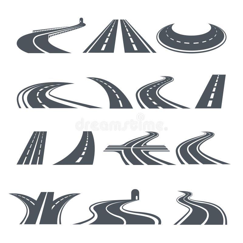 Stilisierte Symbole der Straße und der Landstraße Bilder für Logodesign stock abbildung