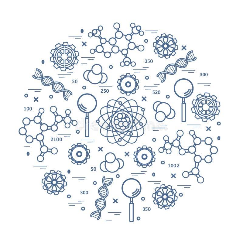 Stilisierte Vektorikone von Vielzahl wissenschaftlich, Bildungselemente Design f?r Fahne, Plakat oder Druck lizenzfreie abbildung