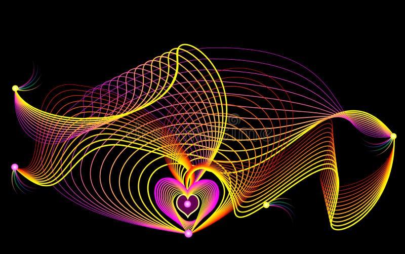 Stilisierte wellenähnliche Antriebe und Wellen auf schwarzem Hintergrund Druck mit Gitter für medizinisches Plakat mit Herzen Reg vektor abbildung