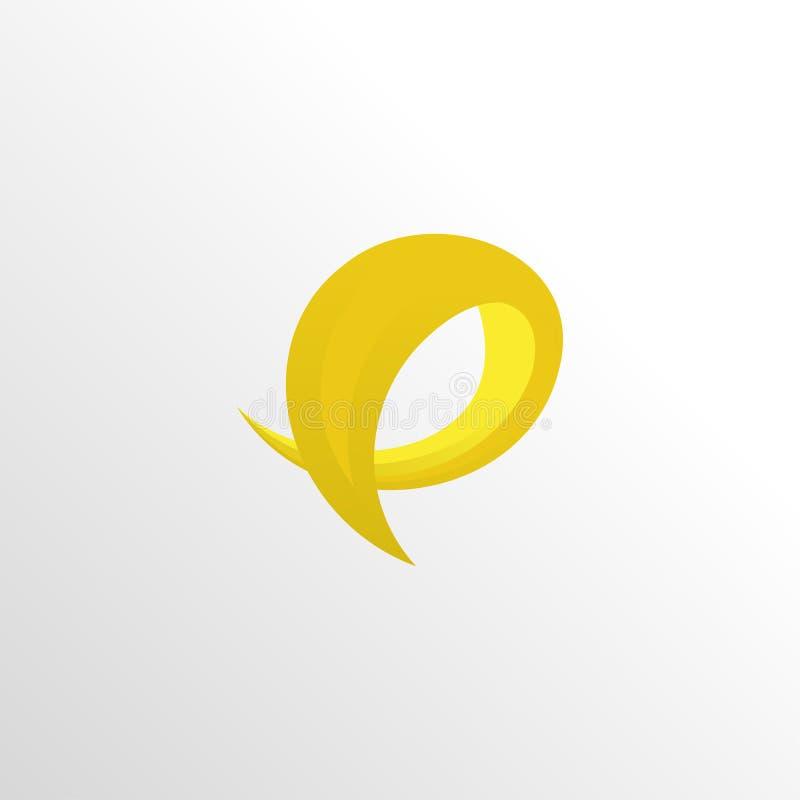 Stilisierte Zitronenschalen-Logoikone des Buchstaben p mit sauberem Hintergrund lizenzfreie abbildung
