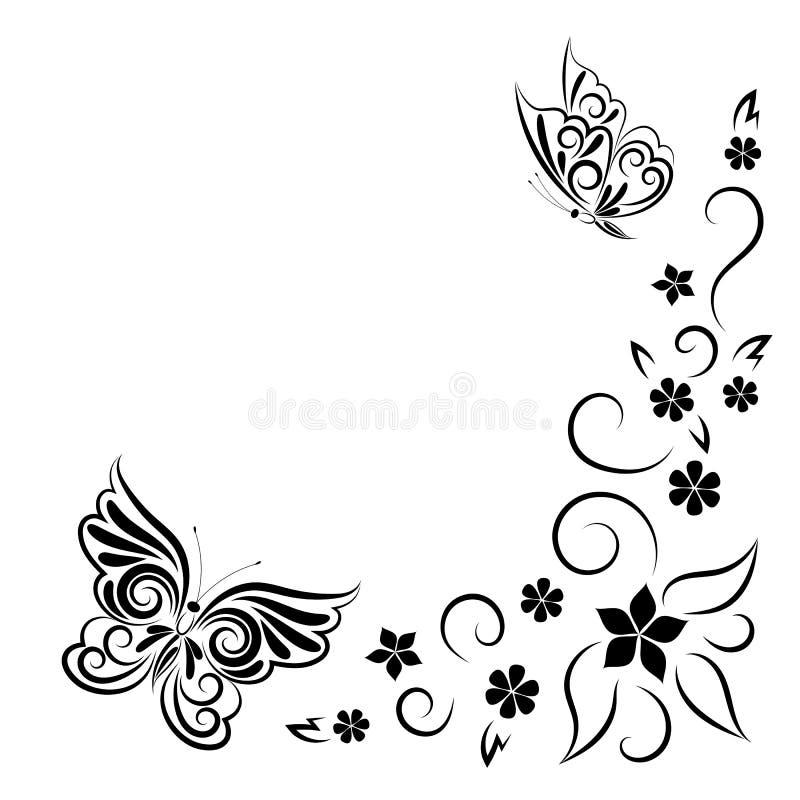 Stilisierte Zusammensetzung des Sommers von Schmetterlingen und von Blumen Das Bild wird durch eine schwarze Linie in Form einer  vektor abbildung