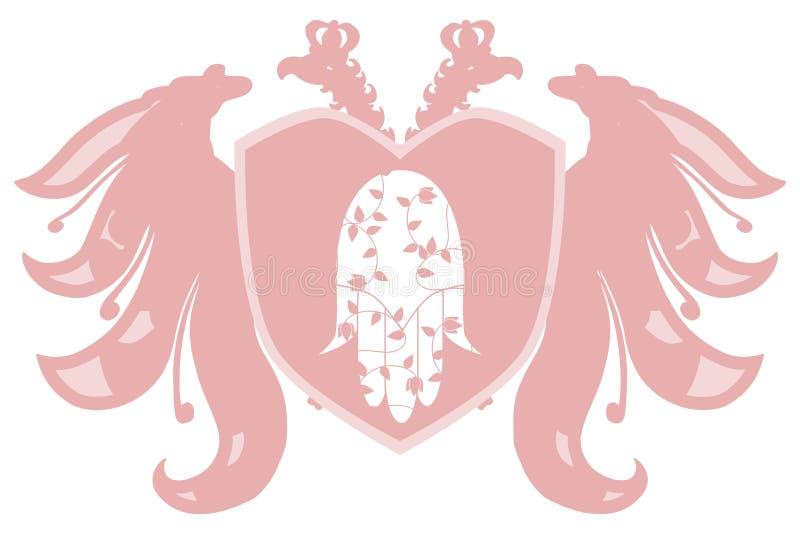 Stilisierte zwei gingen Adler mit der Hand von Fatima voran vektor abbildung