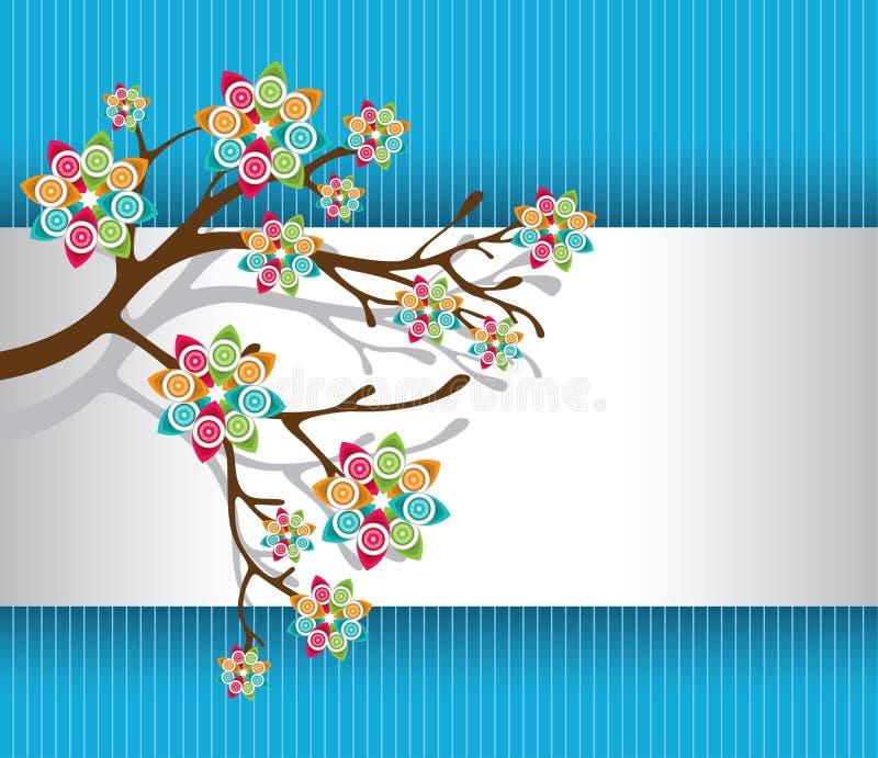 Stilisierter Baum mit bunter Blüten-Leuchte lizenzfreie abbildung