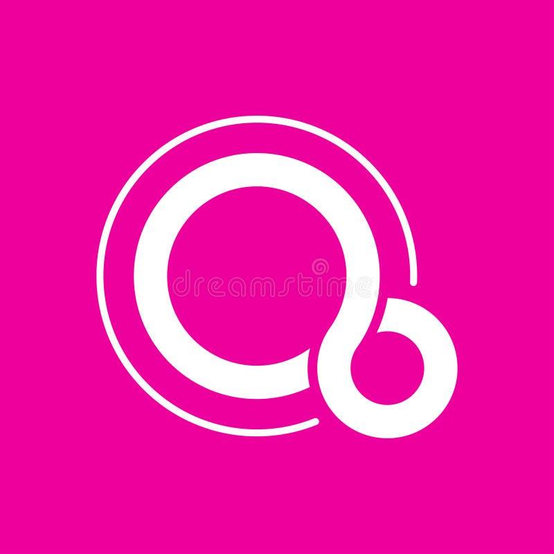 Stilisierter Buchstabe Q Logovektor, Buchstabe Q auf rosa Hintergrund Auch im corel abgehobenen Betrag ENV 10 vektor abbildung