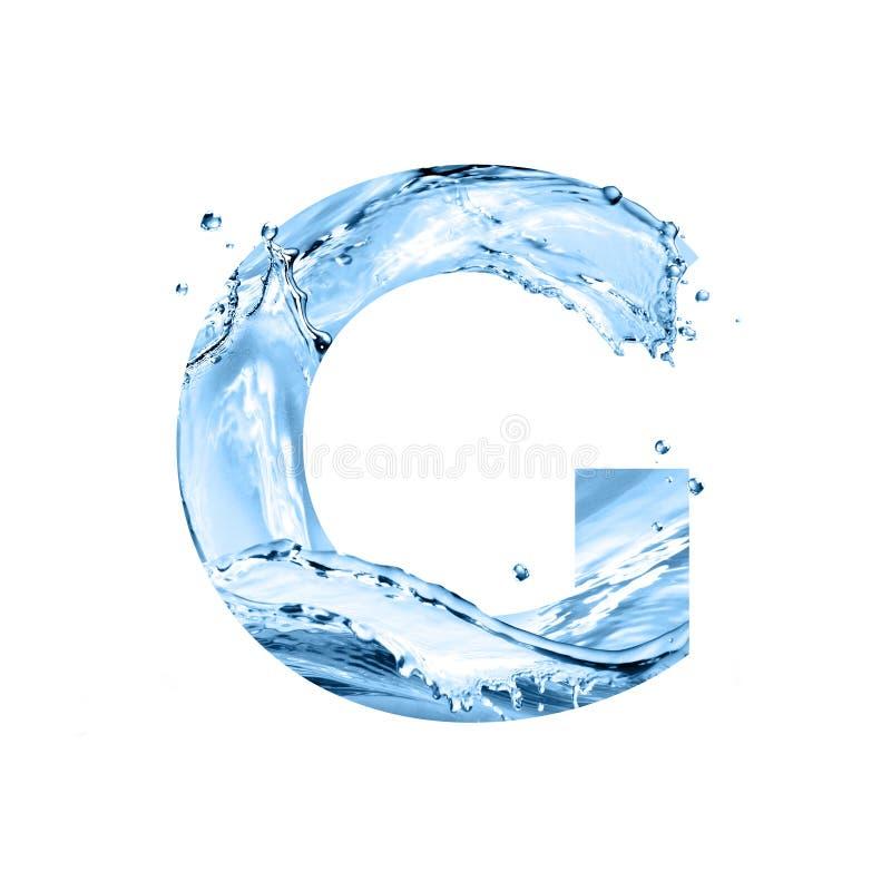 Stilisierter Guss, der Text, der vom Wasser gemacht wird, spritzt, Großbuchstabe g, ist stockfoto