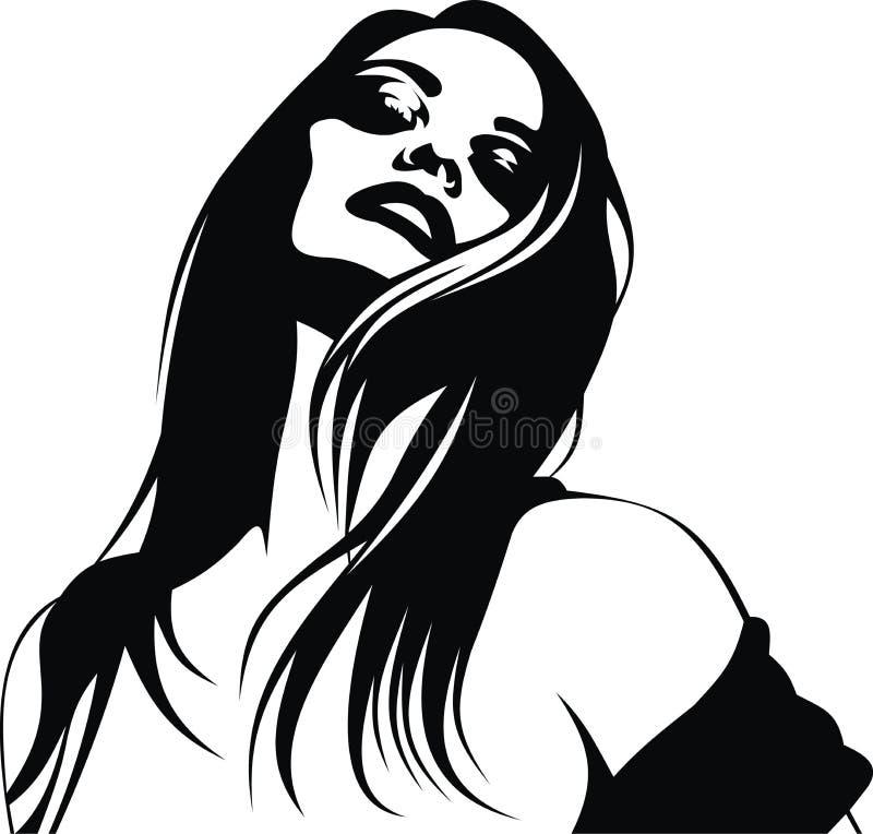 Stilisierter Kopf des netten Mädchens (Frauen) von meinem Traum stock abbildung