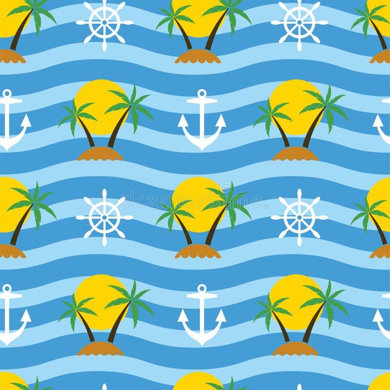 Stilisierter nahtloser Reisehintergrund mit tropischer Palme tr lizenzfreie abbildung
