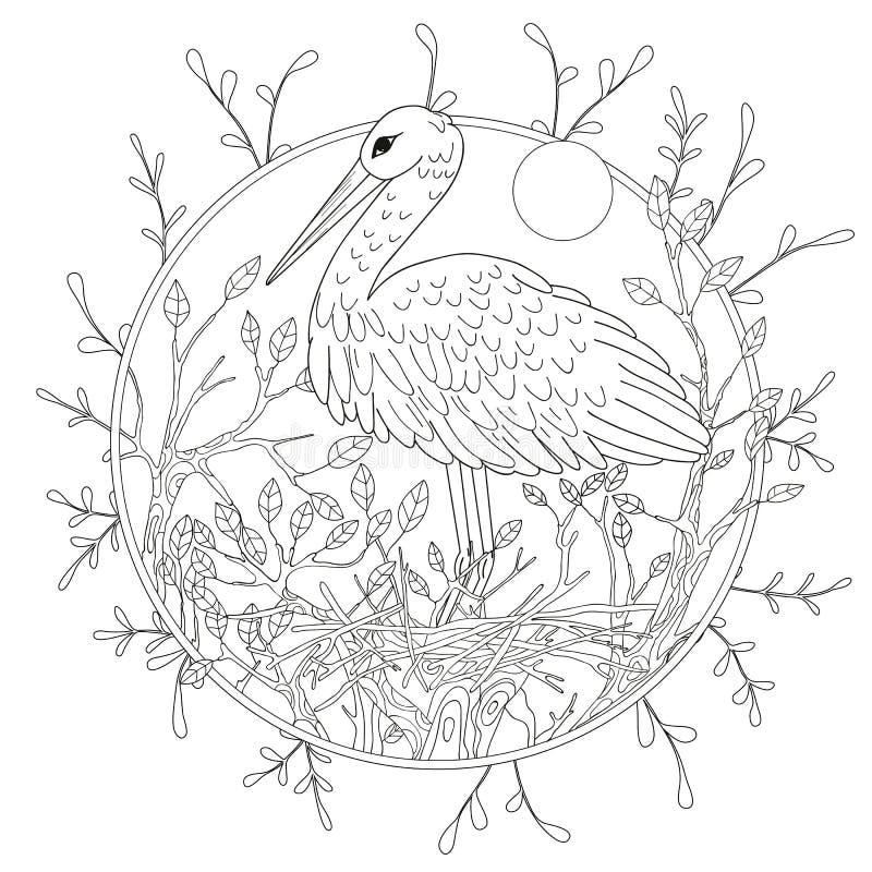 Stilisierter Pelikanvogel unter Laub Handzeichen für erwachsene Antidruckmalbuchseite stock abbildung