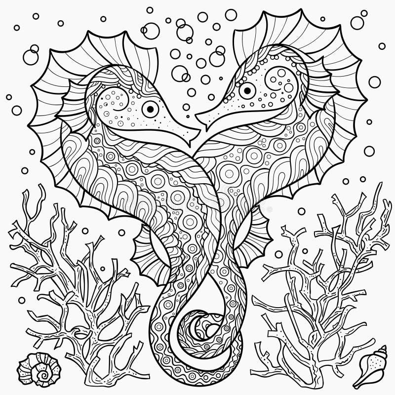 Stilisierter Seahorse unter Korallen Vektor lizenzfreie abbildung