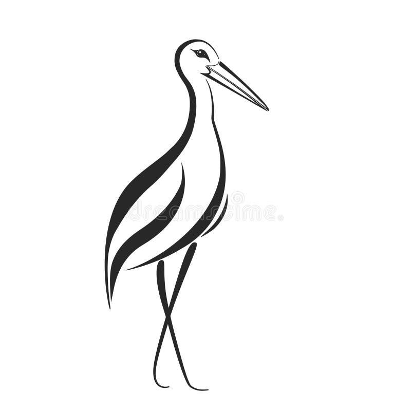 Stilisierter Storch-, Reiher- oder Kranaufkleber stock abbildung