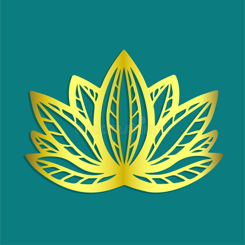 Stilisiertes goldenes Lotosblumenlogo auf blaue gezeichnetem Fantasiedesign des Hintergrundes Hand für Tätowierung, Gewebestoff,  vektor abbildung