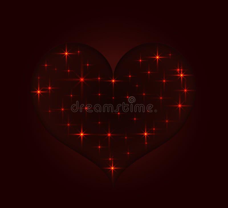 Stilisiertes Herz von den hellen Sternen stock abbildung