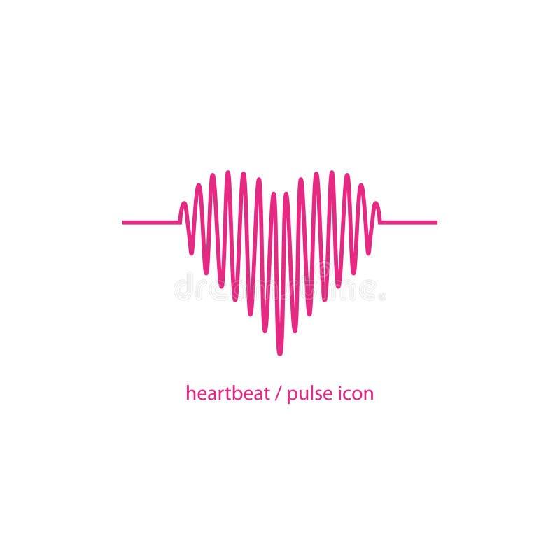 Stilisiertes Kardiogramm der Herzikone Hearbeat und Impulsikone stock abbildung