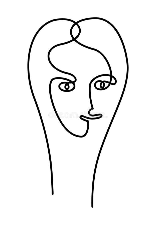 Stilisiertes Porträt einer Frau Porträt der einzelnen Zeile Große und kleine Schneeflocken zusammen gemischt Vektor stock abbildung
