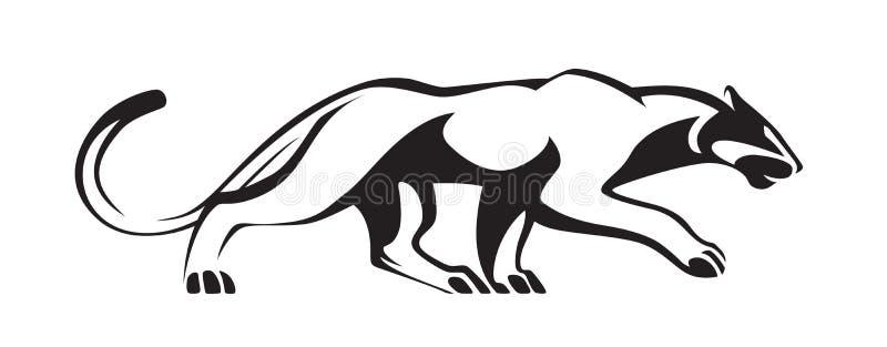 Stilisiertes Schattenbild des Schwarzen des Panthers Vektorwildkatzenillustration Tier lokalisiert auf weißem Hintergrund als Log stock abbildung