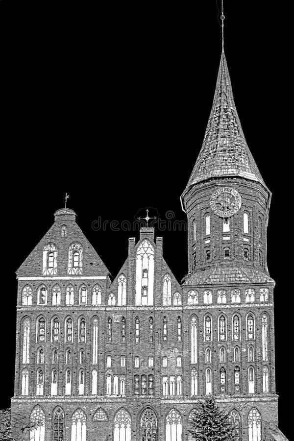 Stilisiertes Schwarzweiss-Bild der Kathedrale in Kaliningrad lizenzfreie abbildung