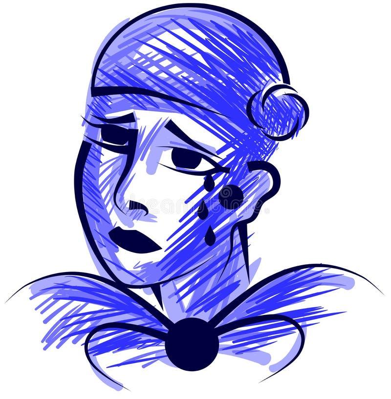 Stilisiertes trauriges Pierrot in den blauen Tönen lizenzfreie abbildung