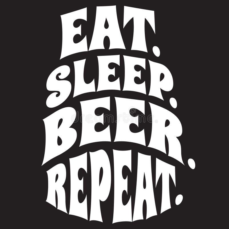Stilisiertes Zitat des Vektors auf dem Thema des Bieres Weißer Text auf einem schwarzen Hintergrund eat schlaf Bier wiederholung stock abbildung