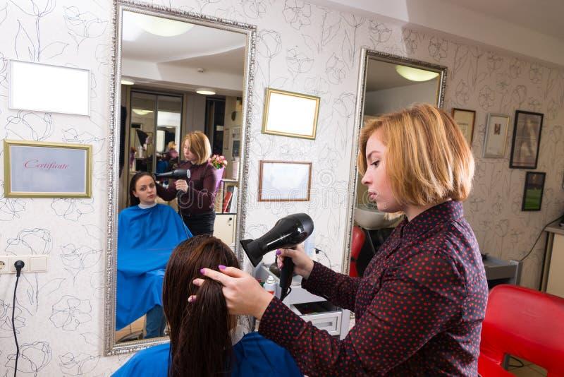 Stilista che asciuga col phon capelli bagnati del cliente in salone fotografia stock libera da diritti