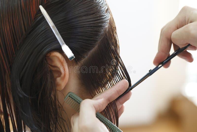 Stilistkapper die kapsel doen stock afbeeldingen