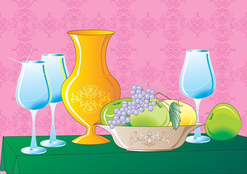 Download Still Life stock vector. Illustration of fruitage, alcohol - 15718588