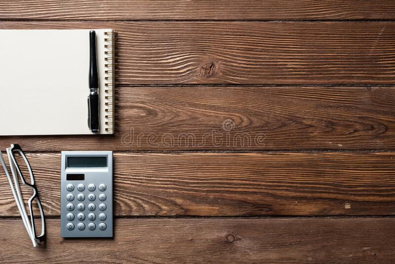 Still life of accountant office workspace stock image