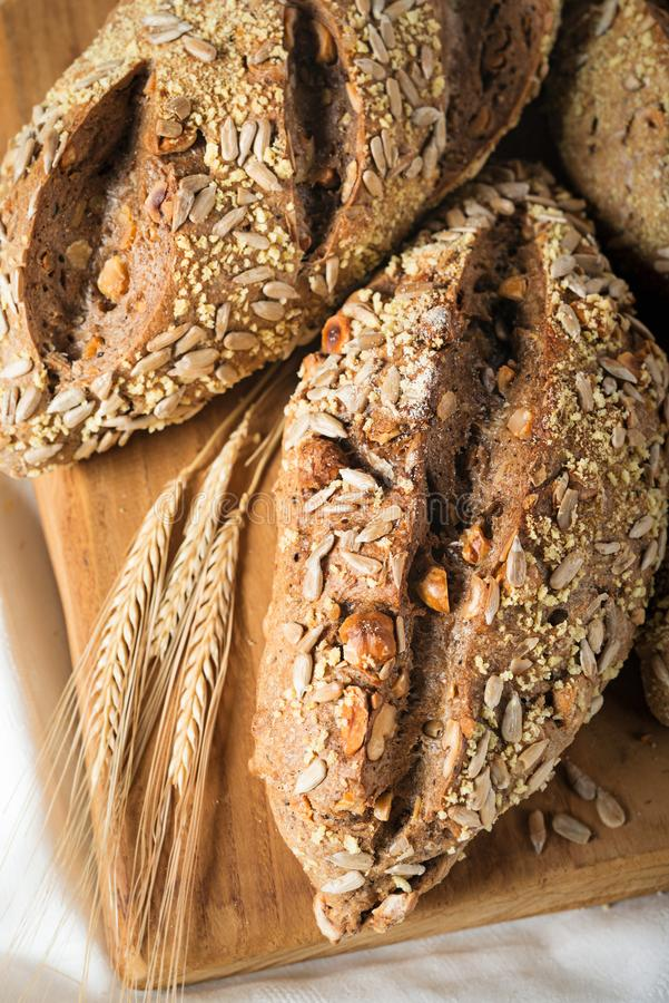 Rustic Bread With Seeds And Nuts Stock Image - Image of ...