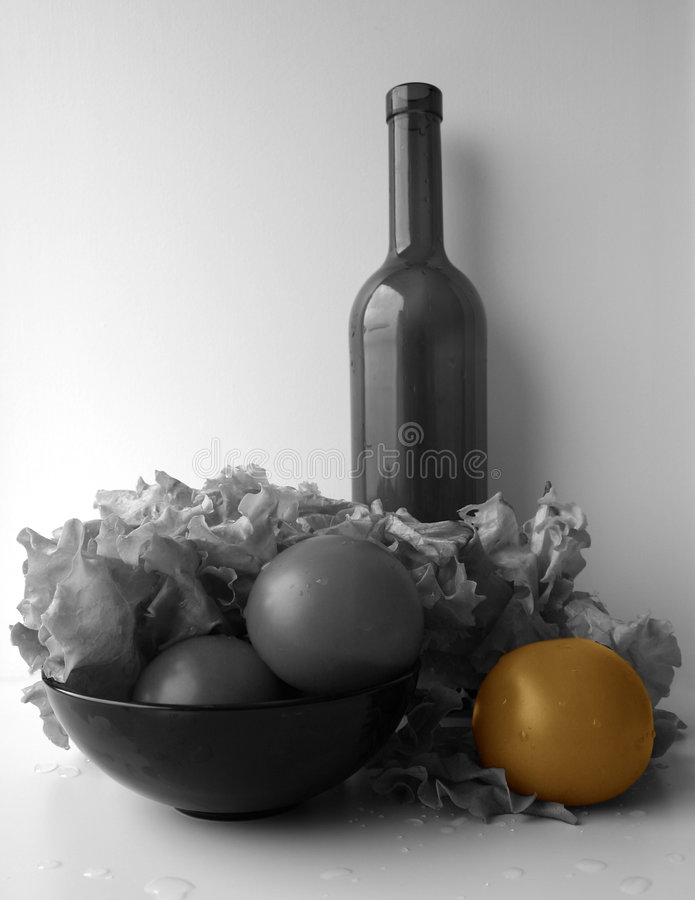 Still-life, B/W partially coloured stock images