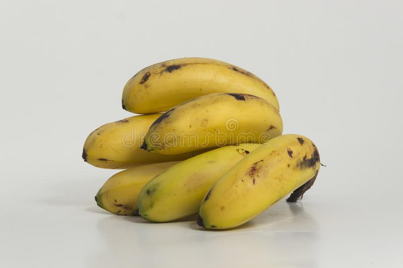 Still life of bananas. Small ripe plantains, yellow. Sweet fruit for human consumption, source of potassium and fiber royalty free stock photo