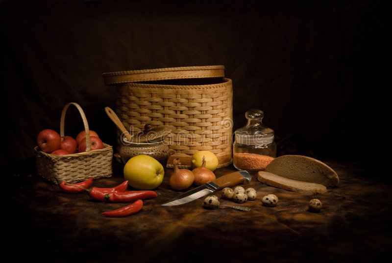 Still-life With A Basket Stock Photos