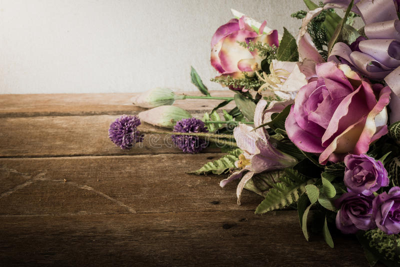 Still life with a beautiful bunch of Flowers with cobweb on wood. En table. vintage tone stock photos