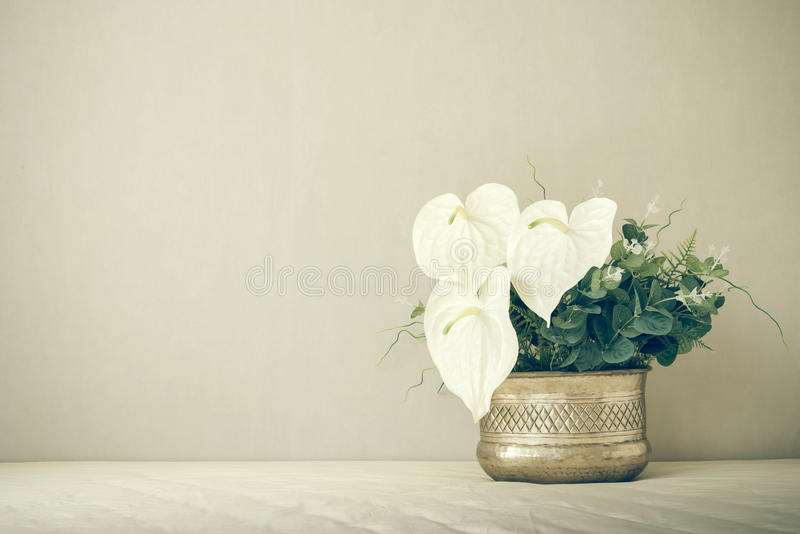 Still life with a beautiful bunch of flowers, vintage color tone stock photo