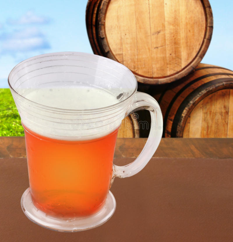 Still life with beer and barrels stock photo