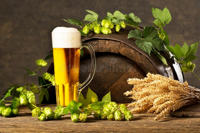 Still Life with Beer Glass. Hop Cones and Wheat stock image