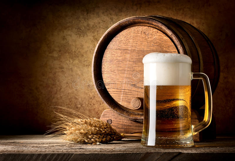 Still life with beer. On a textured background royalty free stock images